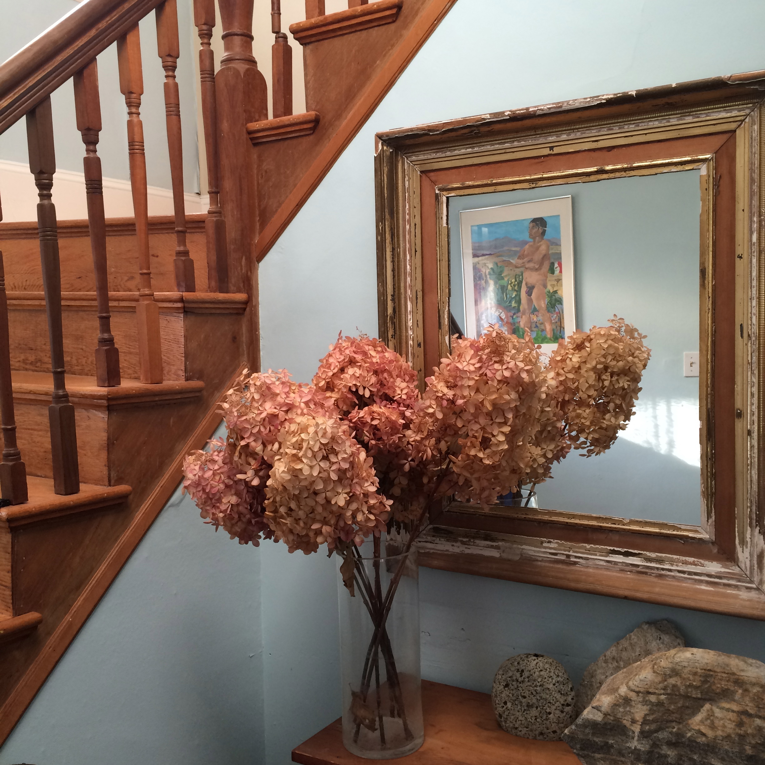 flowers in the entrance hall of the childhood home