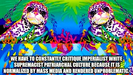 Quote from Bell Hooks; Image from Feminist Lisa Frank