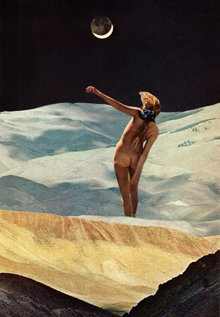 collage of a nude woman standing in a bare landscape beneath a crescent moon