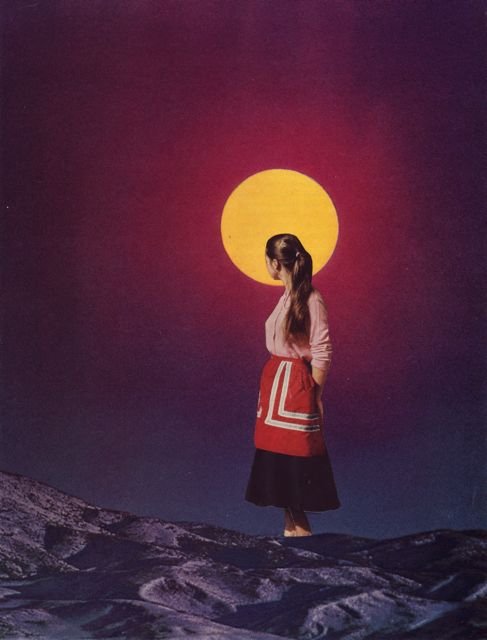 collage of a woman standing with hands folded behind her back, her head turned away and silhouetted against a bright yellow moon in a dark purple sky