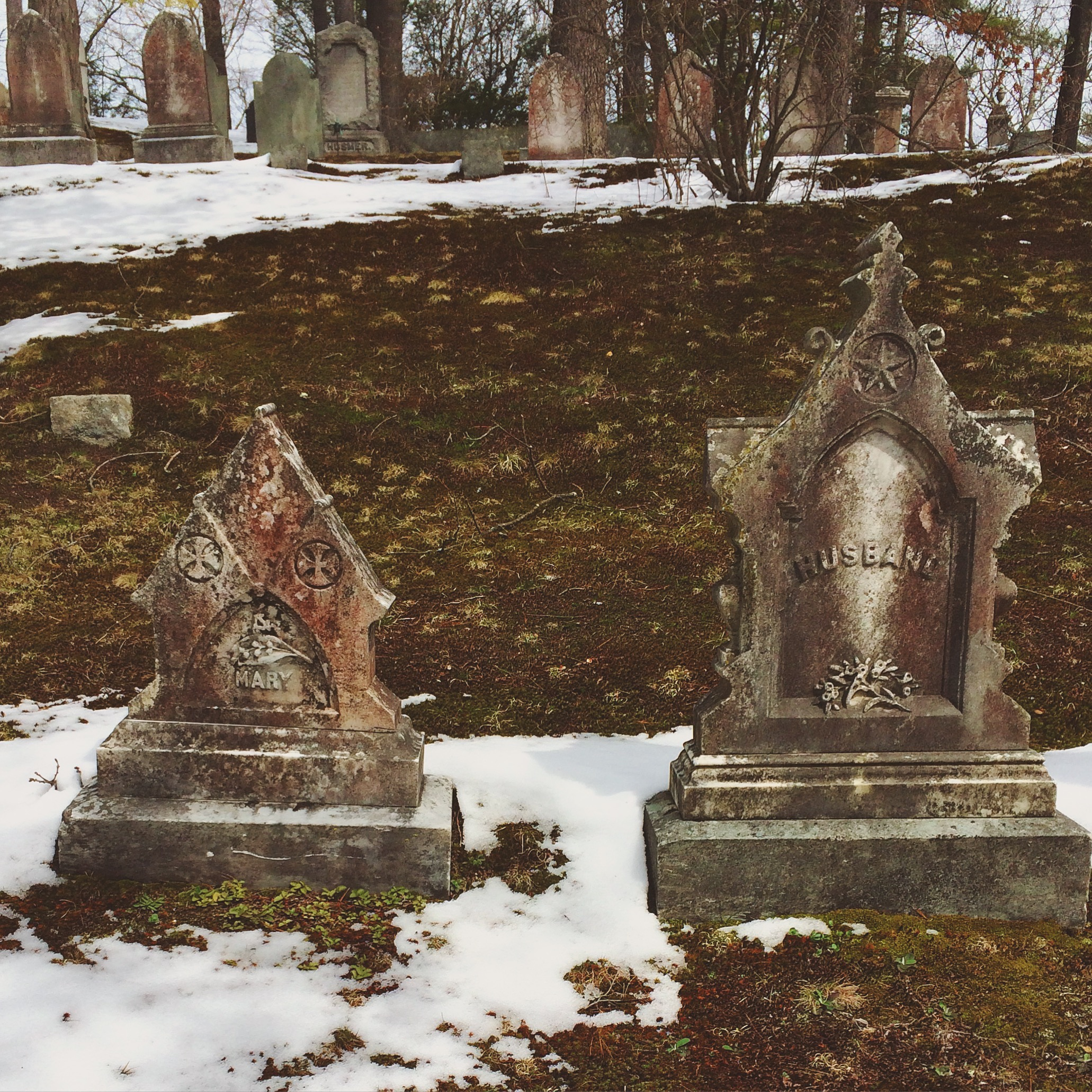 two small but ornate gravestones stand amidst the patchy snow and bare ground. a row of other old gravestones stand in the background