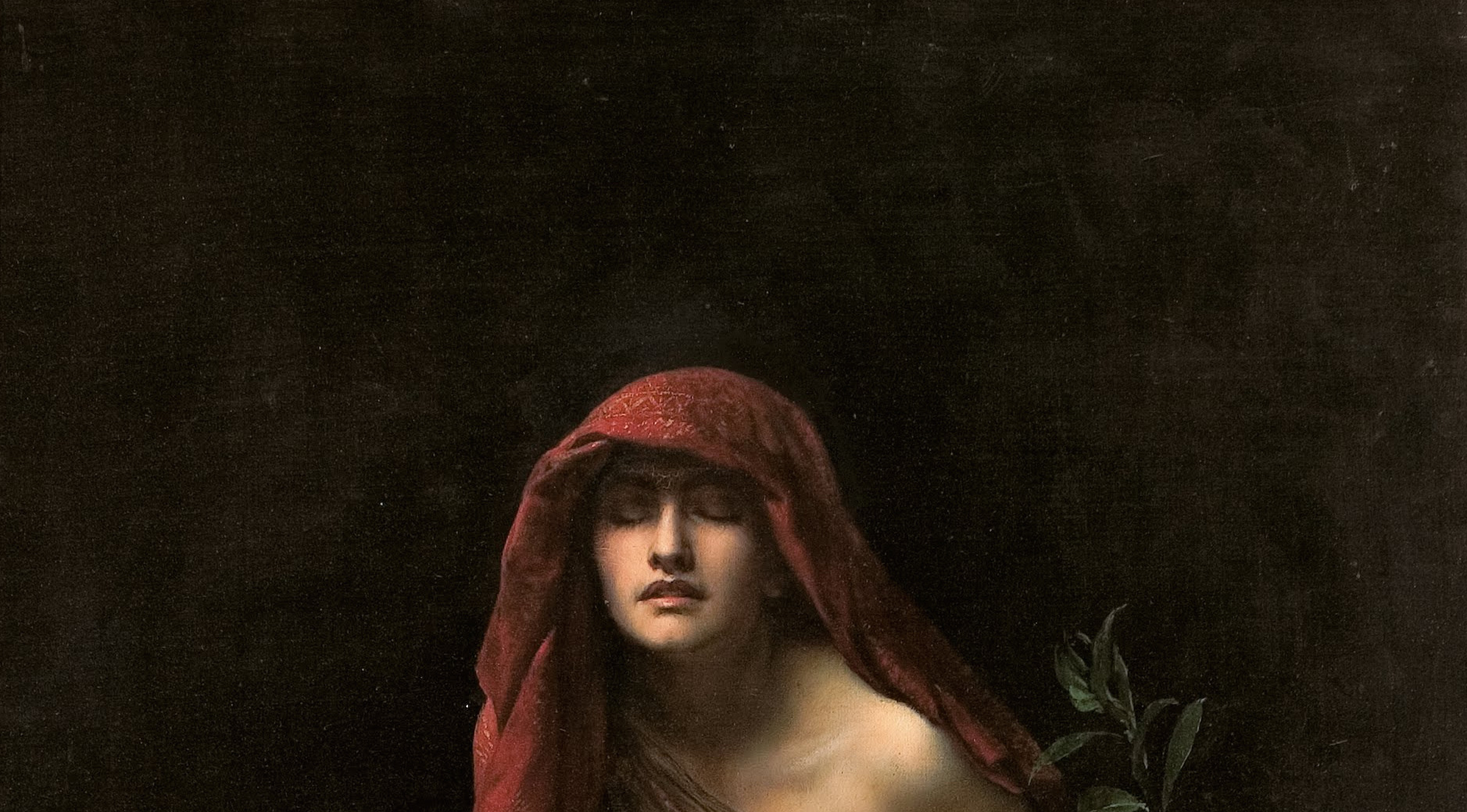 priestess of delphi detail of her face, closed eyes, rapt expression, red shawl draped over her head, bay leaf stalk peeking up to her left