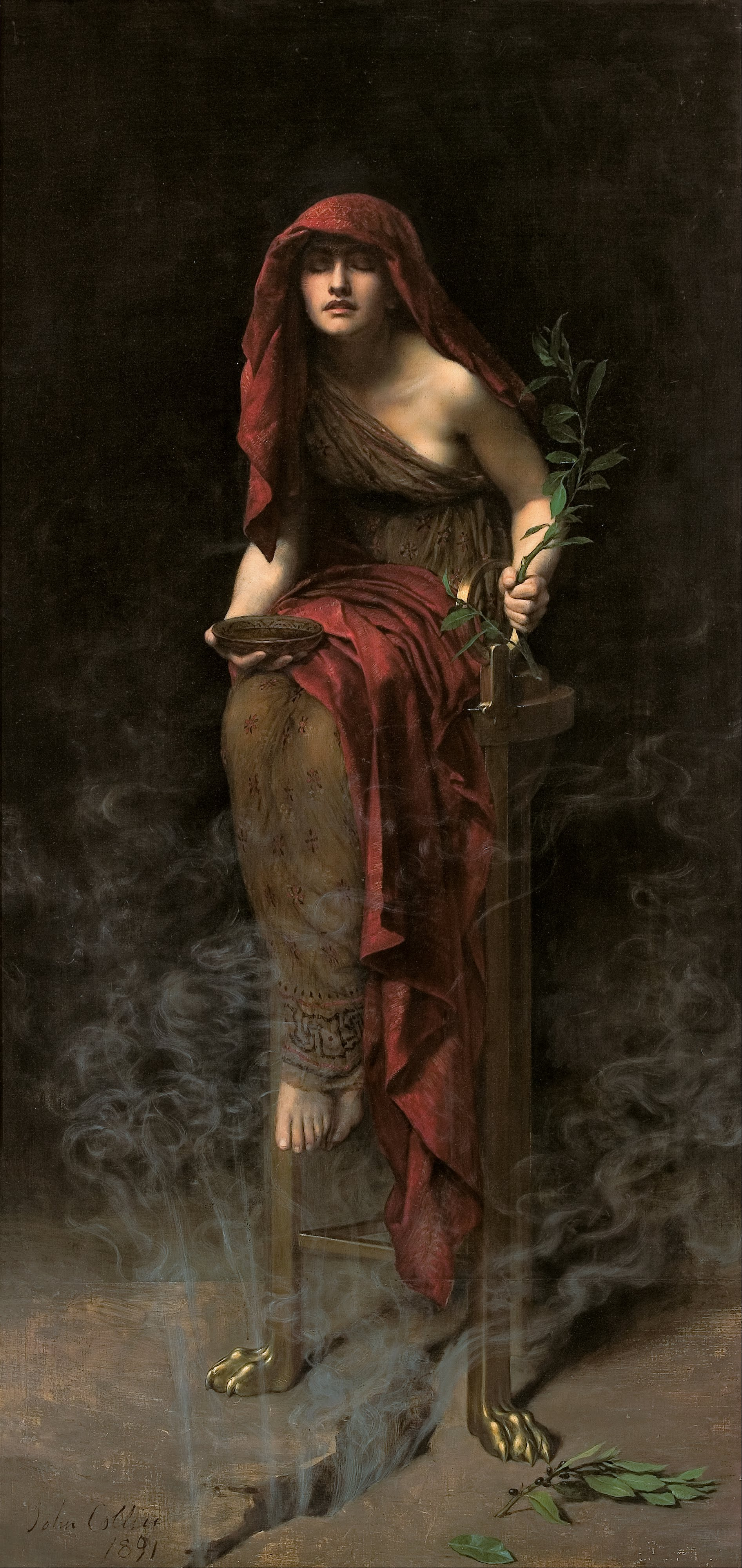 john collier's painting Priestess of Delphi