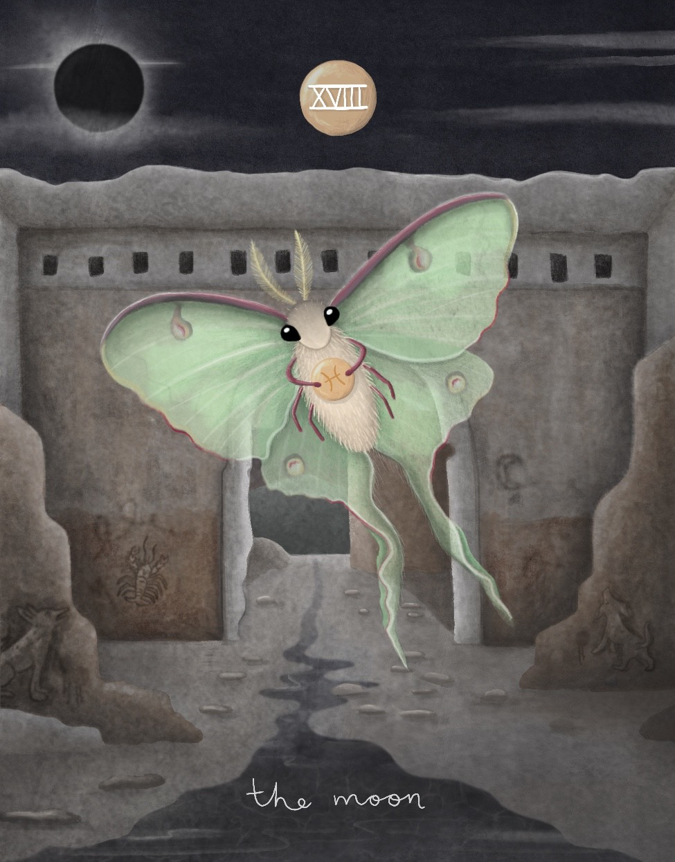 illustration of the moon card featuring a luna moth